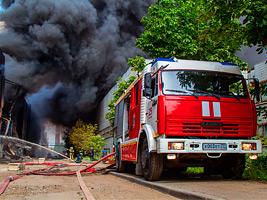 Тушение пожара завода ЗиЛ